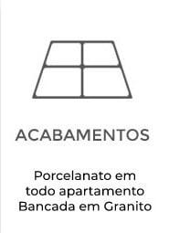 Apartamentos Terra Mundi Goiânia - Acabamentos com Porcelanato em todo apartamento - Bancada em Granito